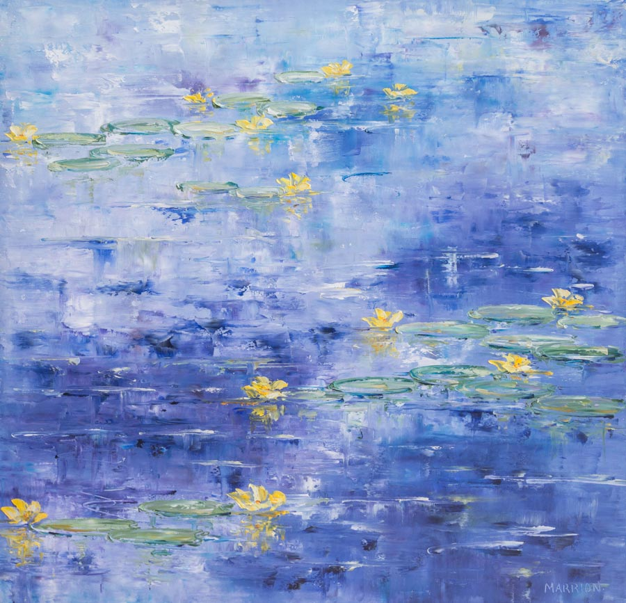 Yellow Lilies on Blue